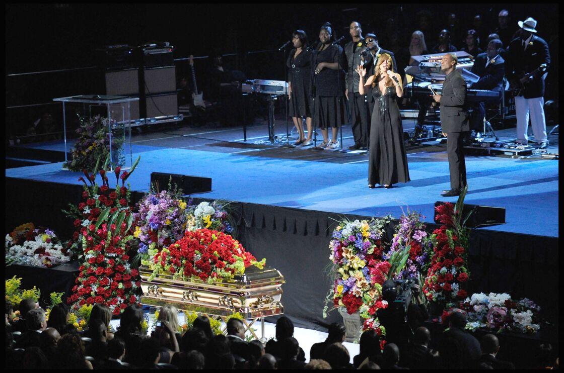 Cérémonie d'adieu à Michael Jackson, organisée au Staples Center à Los Angeles, le 7 juillet 2009.