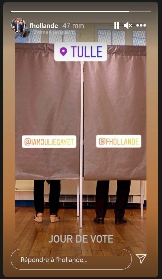 François Hollande et Julie Gayet ont voté ensemble à Tulle, pour les élections régionales, ce dimanche 27 juin.