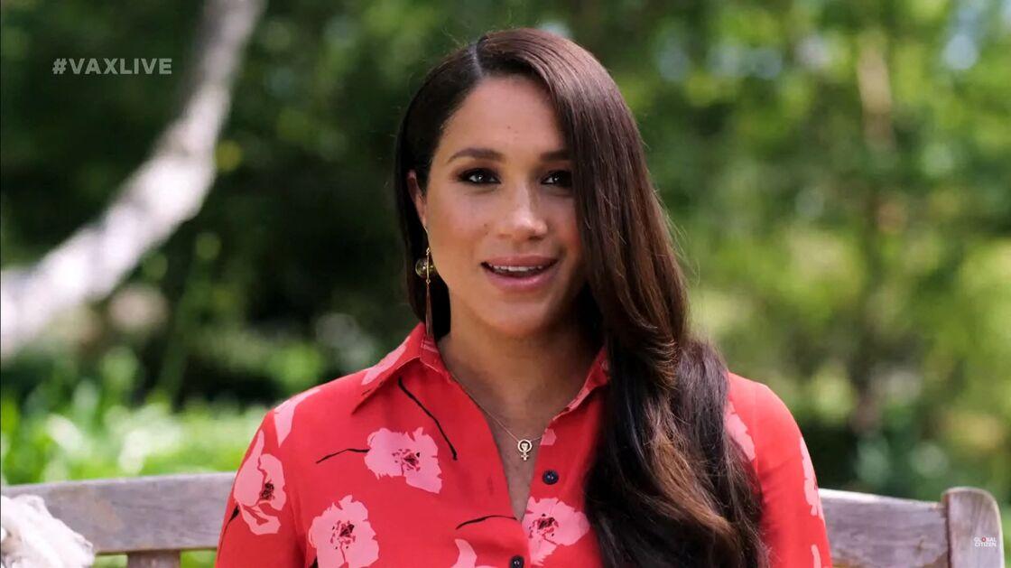 Meghan Markle, enceinte, s'adresse dans un message vidéo à l'assistance du concert caritatif Vax Live à Los Angeles, le 8 mai 2021.
