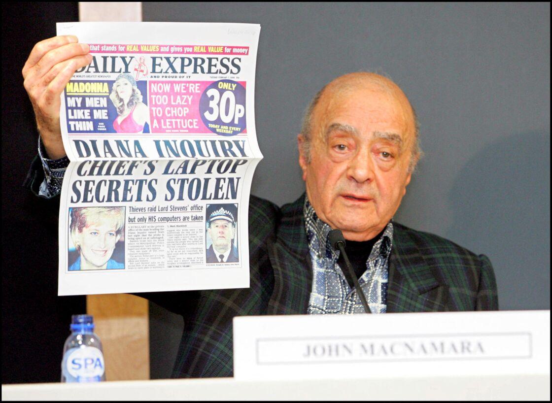 Mohamed Al-Fayed a tenu une conférence de presse en 2006, à la suite de la publication du rapport d'enquête sur l'accident de Diana et Dodi Al-Fayed.