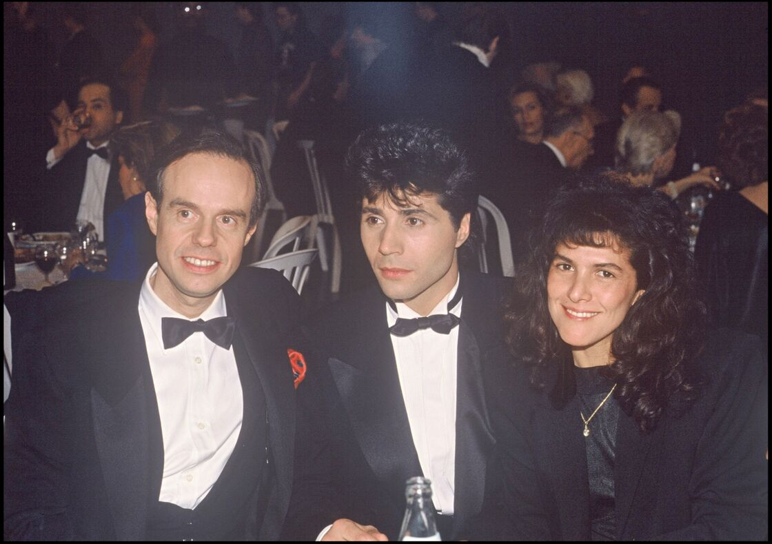 Frédéric Mitterrand et Jean-Luc Lahaye lors d'une soirée hommage à Dalida, en 1988