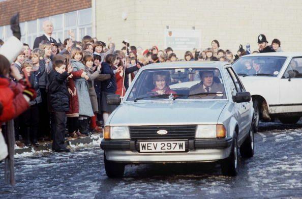 Diana dans sa Ford Escort en 1981