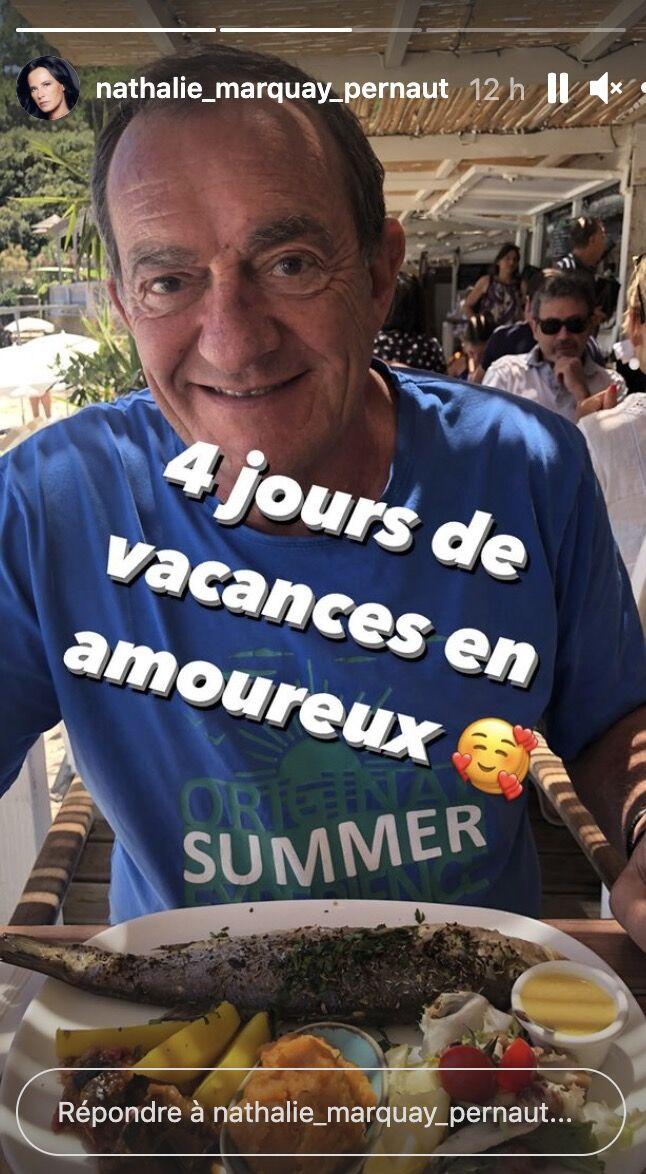 Jean-Pierre Pernaut en vacances avec sa femme Nathalie. Story du 2 juillet 2021.