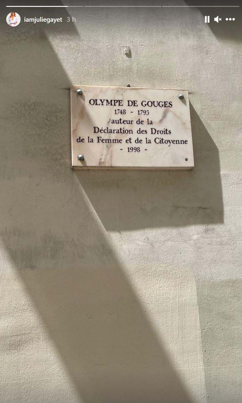 Julie Gayet a voulu rendre hommage à Olympe de Gouges, ce mardi 6 juillet sur Instagram.