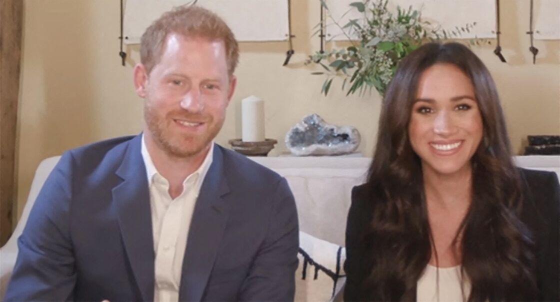 Le prince Harry, duc de Sussex, et Meghan Markle, duchesse de Sussex en interview pour l'émission Engineering A Better World TIME100, le 20 octobre 2020