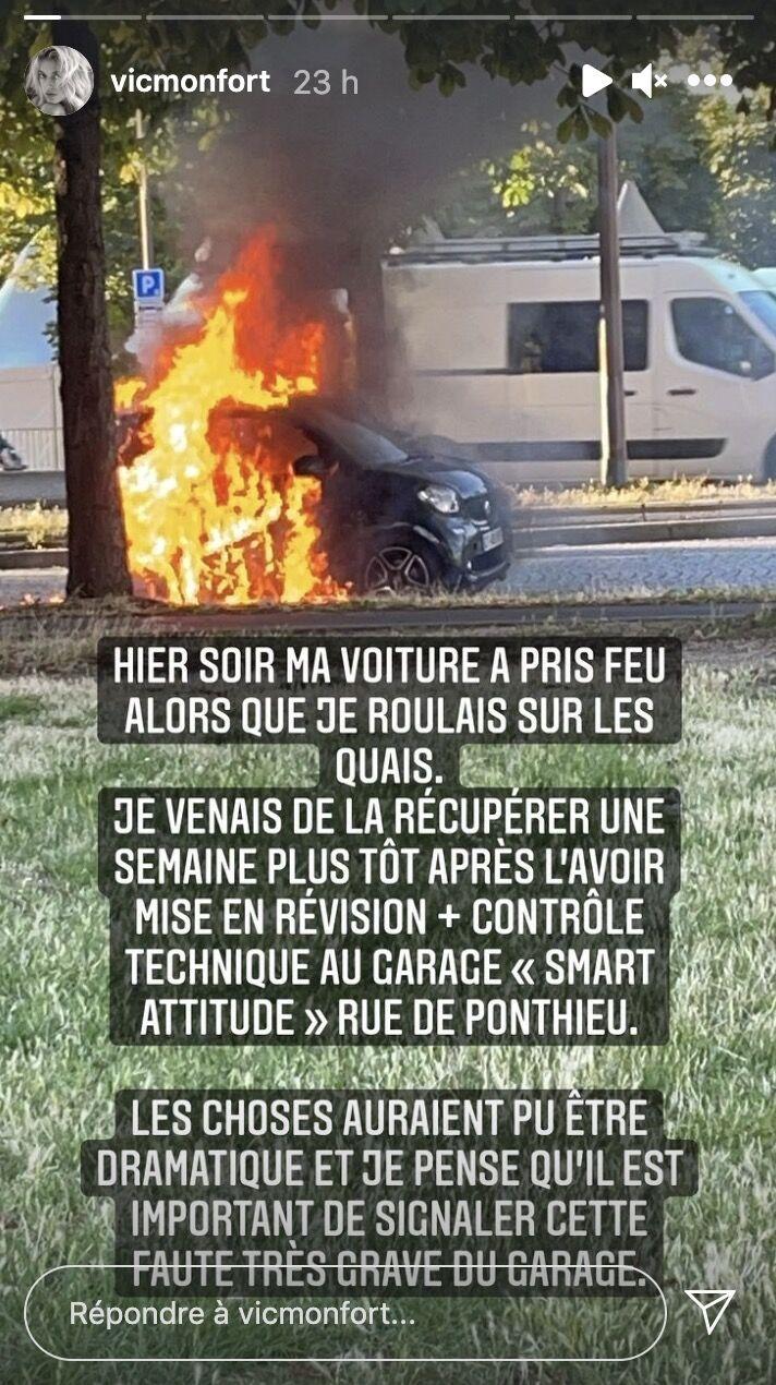 Les images de sa voiture en proie aux flammes, ce jeudi 8 juillet, à Paris.
