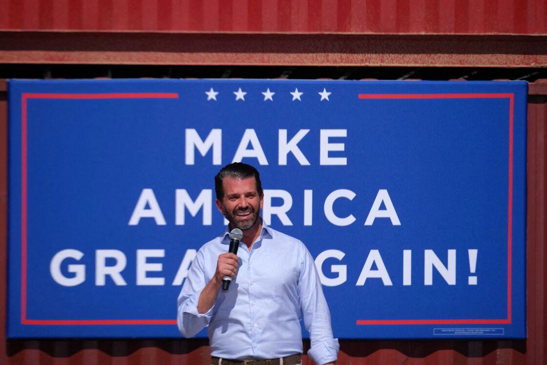 Donald Trump Jr en campagne à Tucson, Arizona, pour soutenir la candidature de son père Donald Trump pour les élections présidentielles le 14 octobre 2020