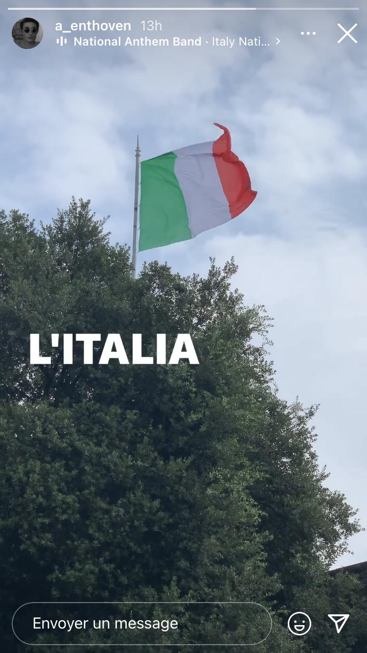 Aurélien Enthoven a publié fièrement le drapeau tricolore sur fond d'hymne italien sur son compte Instagram, le dimanche 11 juillet
