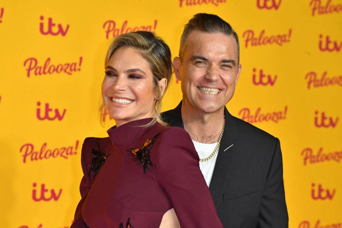 Robbie Williams et sa femme Ayda Field à Londres, le 16 octobre 2018.