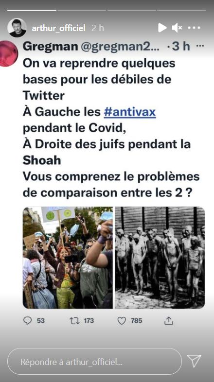 Arthur repartage un tweet posté à l'intention des personnes qui sont contre le vaccin