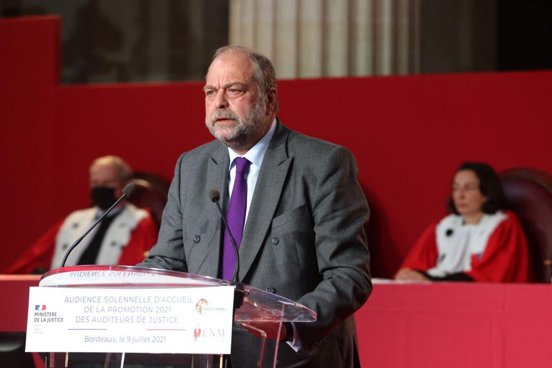 Eric Dupond-Moretti, ministre de la justice, garde des Sceaux lors de l'audience solennelle d'accueil de la promotion 2021 des auditeurs de justice de l'Ecole nationale de la Majistrature à Bordeaux, France, le 9 juillet 2021