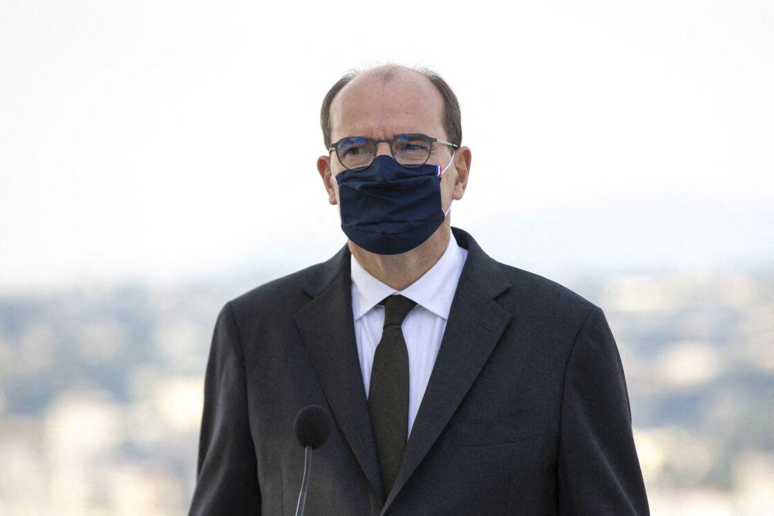 Jean Castex assiste à une cérémonie de remise de décorations aux policiers municipaux de Nice, à la Colline du Château, à Nice, le 7 novembre 2020.