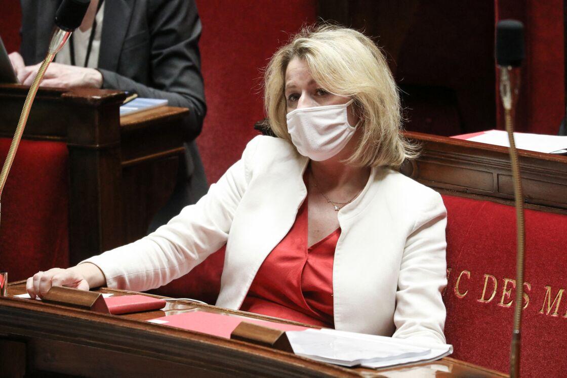 Barbara Pompili, ministre de la Transition écologique, à l'Assemblée Nationale pour le projet de loi portant sur la lutte contre le dérèglement climatique et renforcement de la résilience face à ses effets, le 29 mars 2021.