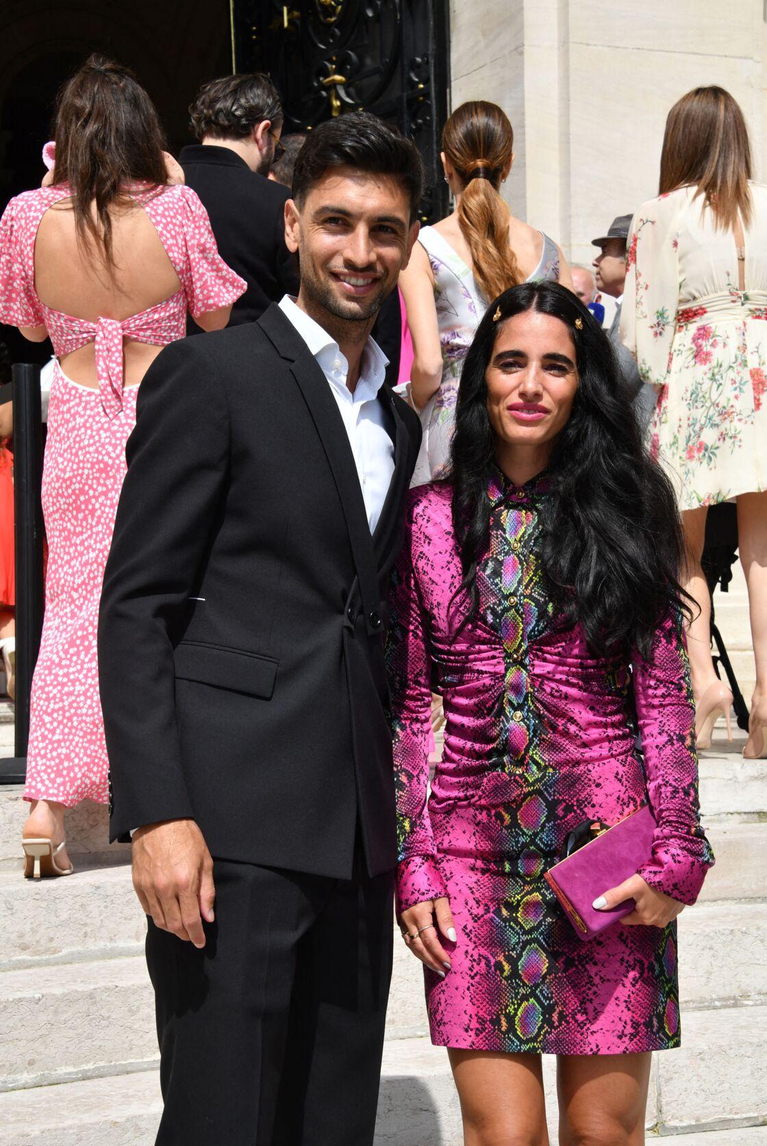 Javier Pastore et sa compagne Chiara Picone au mariage de Marco Verratti et Jessica Aidi, le 15 juillet 2021 à la mairie de Neuilly-sur-Seine