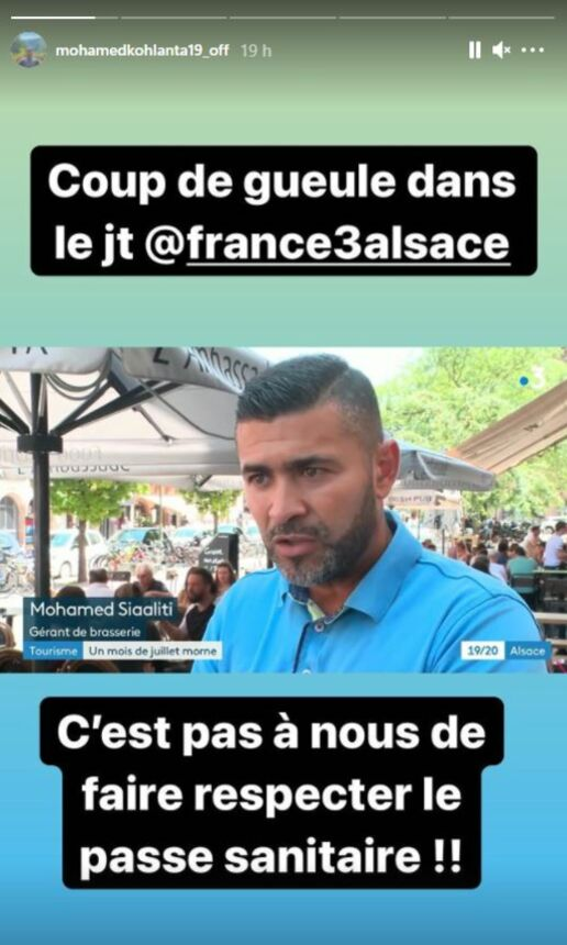 Mohamed a partagé son indignation vis-à-vis du pass sanitaire dans sa story Instagram.