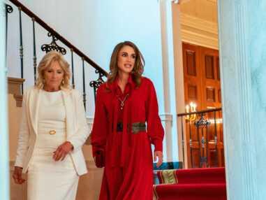 PHOTOS - Rania de Jordanie et Jill Biden en robes longues pour leur première rencontre à Washington