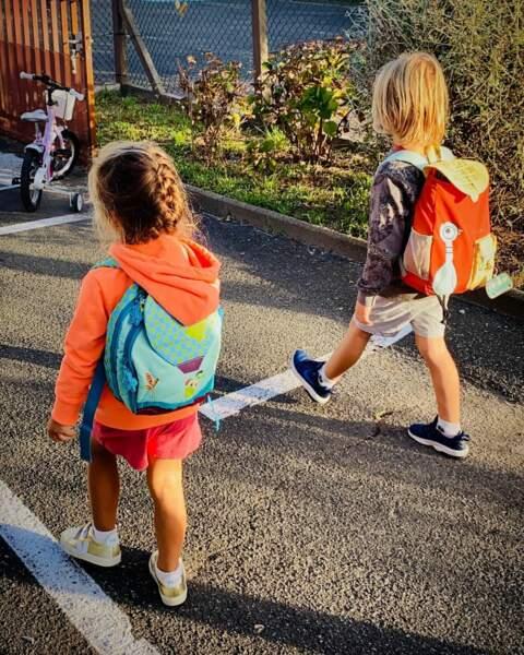 Aaron et Ayla, les enfants d'Amélie Mauresmo, ont fait leur rentrée ce mardi 1er septembre 2020.