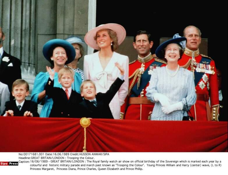 La famille royale lors de la cérémonie Trooping the Colour, en 1989