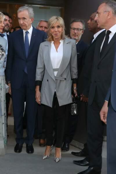 La première Dame n'était pas accompagnée de son époux, Emmanuel Macron