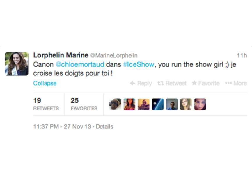 @marinelorphelin premier soutien de @chloemortaud pour son Ice Show!