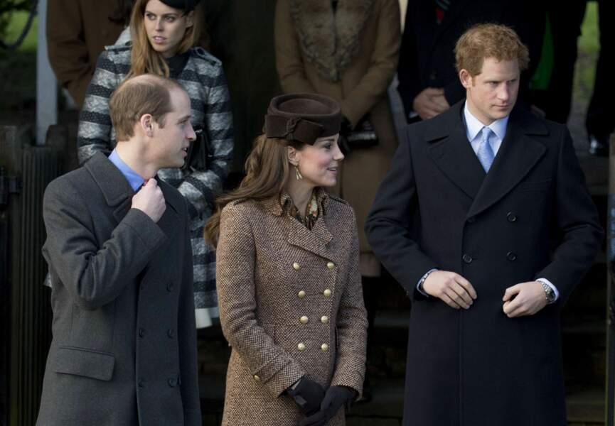 William, Kate et Harry à la messe de Noël