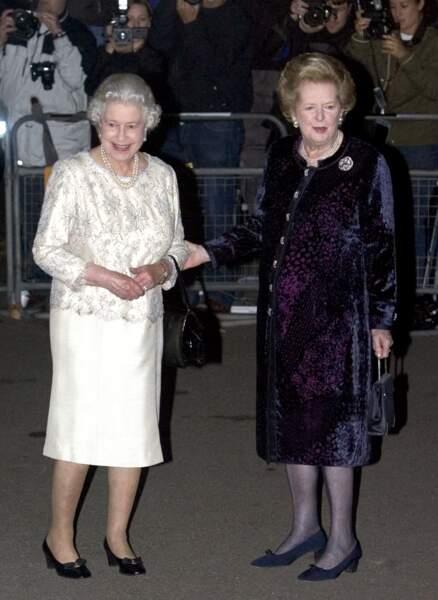 Elizabeth II et l'ex Premier ministre Margaret Thatcher