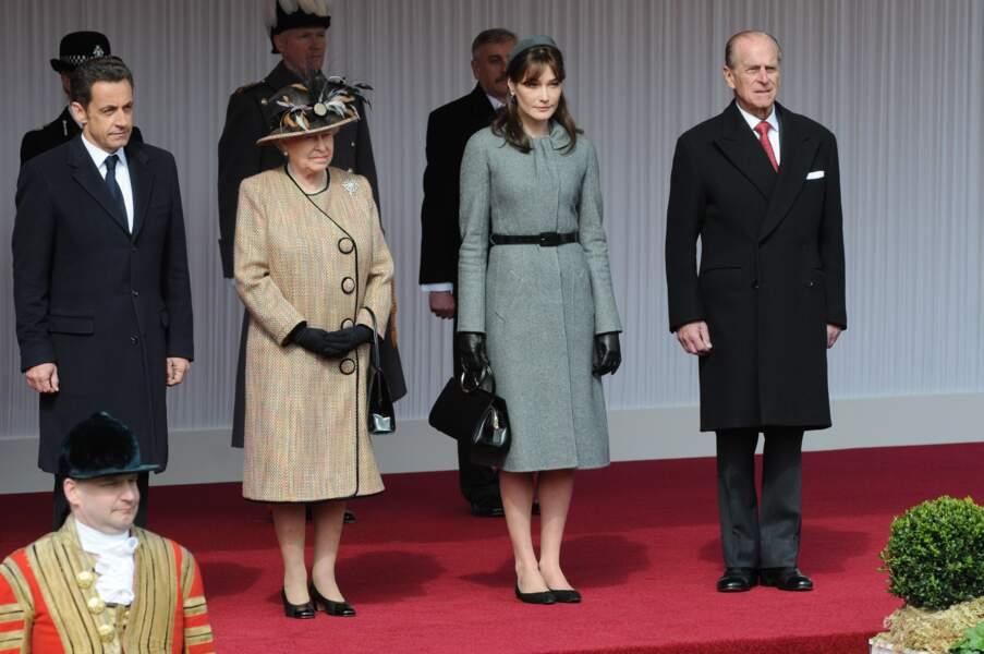 Nicolas Sarkozy et Carla Buni rencontrent Elizabeth II en 2008