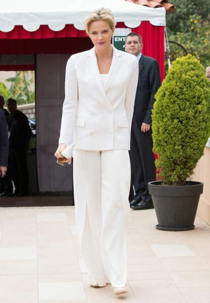 Tailleur blanc lors des Monte Carlo Rolex Masters