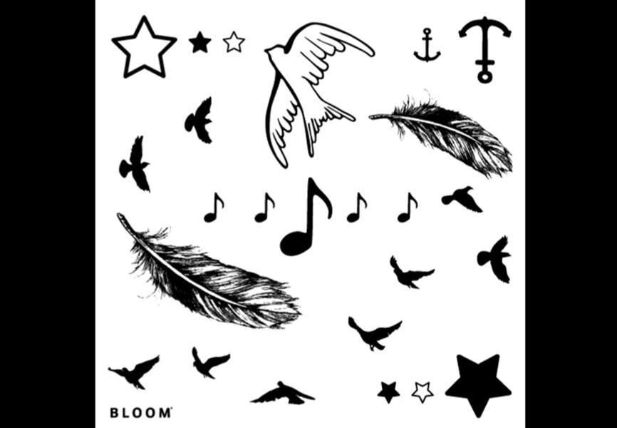 Bloom - Planche tattoo Bird – 9,50€ Disponible sur merci-merci.com