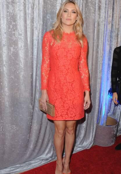 Kate Hudson, très glamour en dentelle rose Temperley London