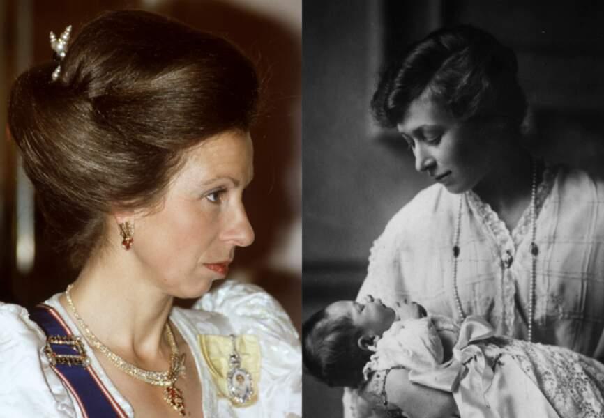 La princesse Anne et sa grand-tante, la princesse Mary, ici en 1923 avec son fils, George