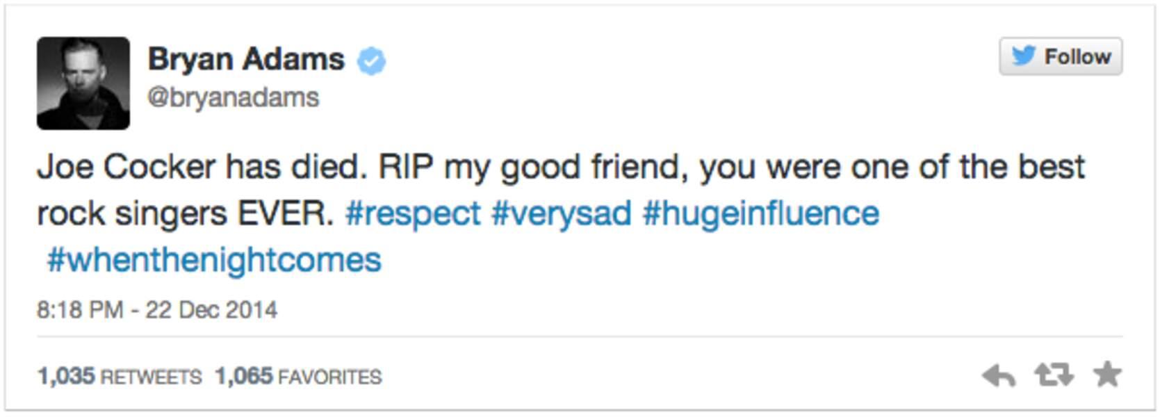 Le chanteur Bryan Adams, très touché