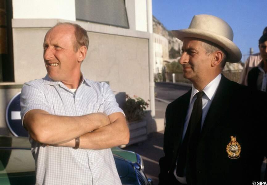 Bourvil et Louis de Funès sur le tournage du Corniaud