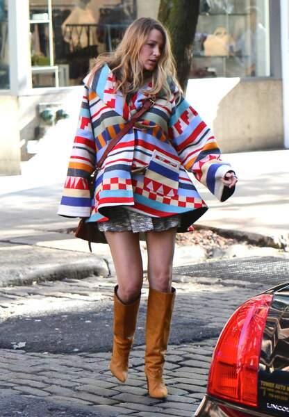 Dans les rues de New York le 17 octobre, elle se la joue bohème chic