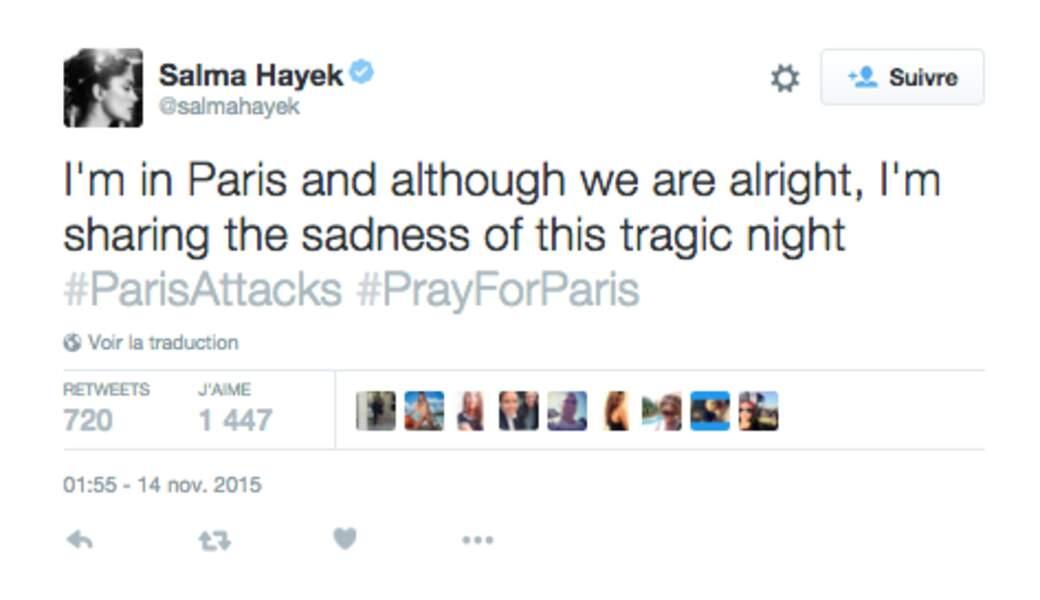 Salma Hayek, à Paris, rassure ses fans mais pense aux victimes