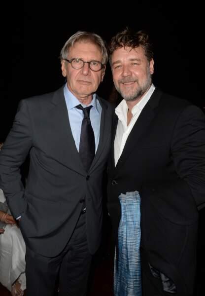 Harrison Ford et Russell Crowe en costume Armani