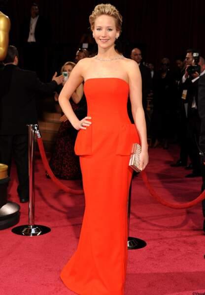 Jennifer Lawrence en Dior, marque dont elle est l'égérie