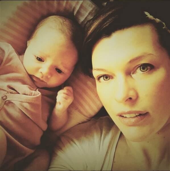 Milla Jovovich et Dashiel Edon, née le 1er avril 2015
