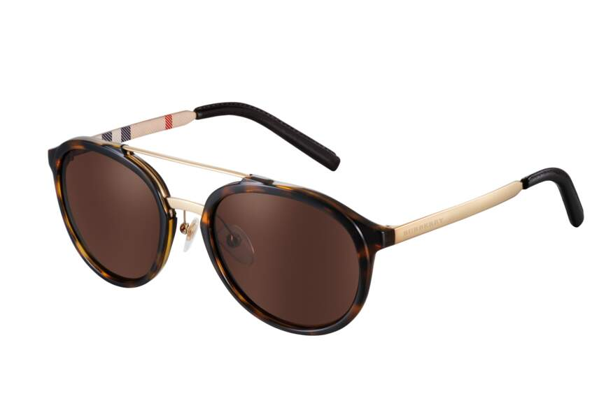 Burberry, Lunettes de soleil rondes Trench Collection, 190€