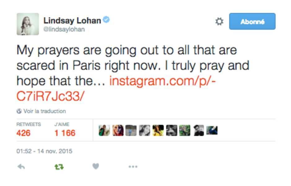 Lindsay Lohan, l'une des premières à réagir
