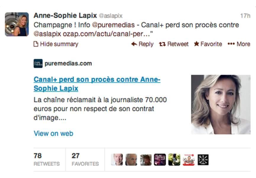 @aslapix a gagné, elle célèbre sur Twitter