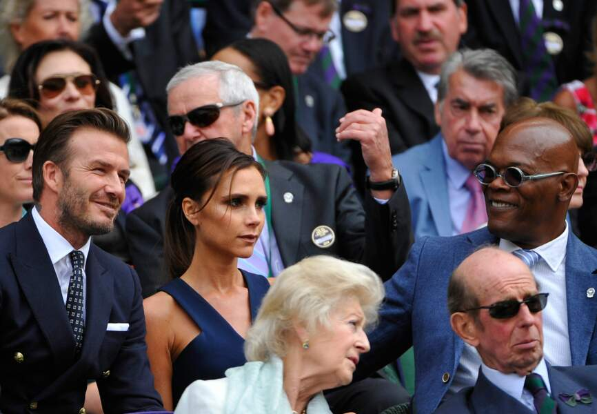 David, Victoria Beckham et Samuel L Jackson
