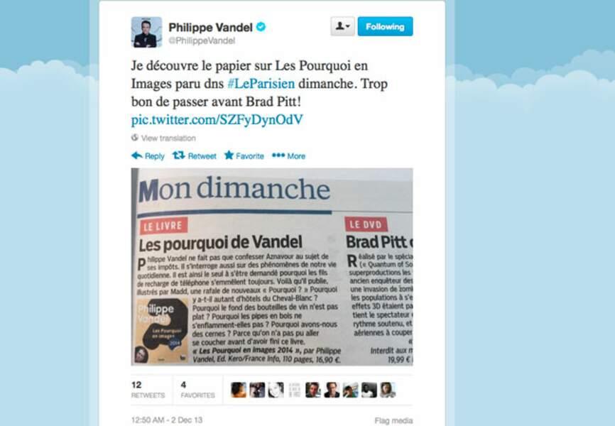 Philippe Vandel pas peu fier d'être dans la même page que Brad Pitt