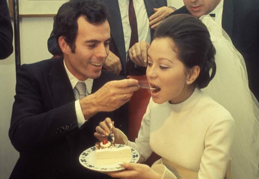 Isabel Preysler lors de son mariage avec Julio Iglesias en 1971