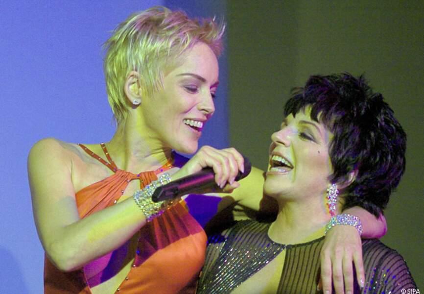 Sharon Stone et Liza Minelli au gala de l'amfAR de 2004