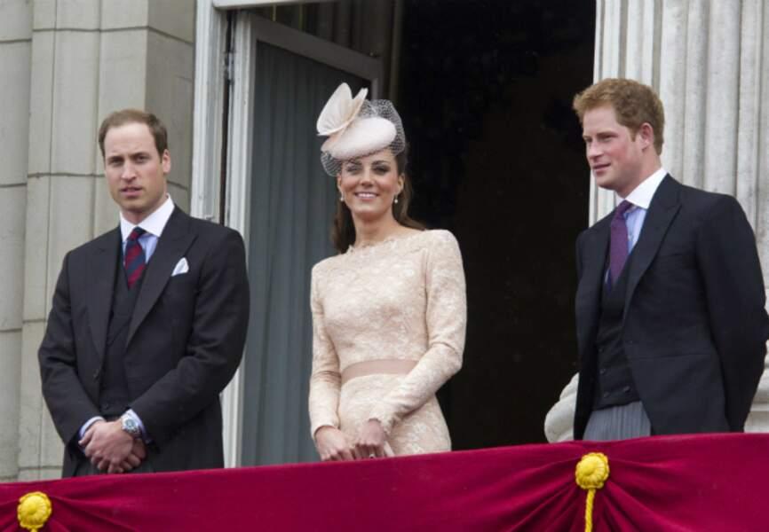 Au balcon de Buckingham, pour les 60 ans de règne d'Elisabeth II, en 2012