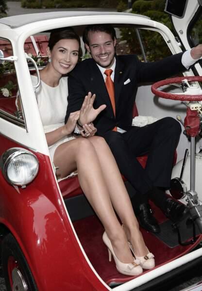 Claire et Félix à bord de leur bolide...