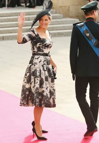 Robe aux motifs graphiques lors du mariage du prince Guillaume du Luxembourg, en octobre dernier