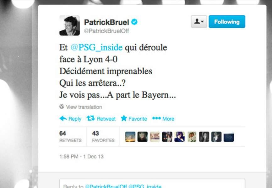 Patrick Bruel suit de près les résultats de son équipe fétiche: le PSG