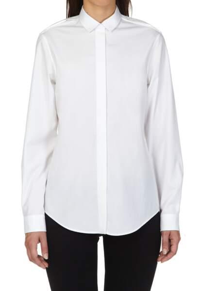 Alain Figaret – Chemise droite en façonné de coton uni blanc – 109€